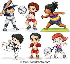 megnyerő, elfoglaltságok, különböző, gyerekek