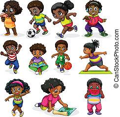 megnyerő, elfoglaltságok, különböző, gyerekek, fekete