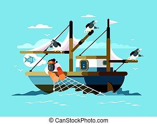 megránt, háló, halász, halászat