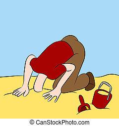 megragadt, fej, homok