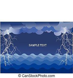 megrohamoz, szöveg, ábra, villámlás ütés, háttér, óceán, .vector