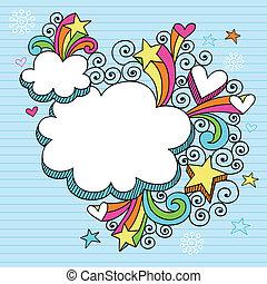 megszokott, keret, psychedelic, felhő