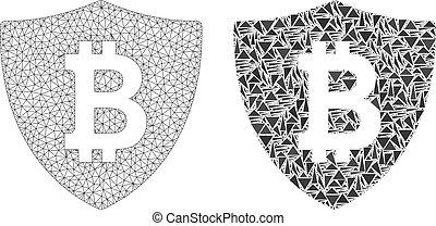 megtáviratoz keret, bitcoin, behálóz, polygonal, oltalom, mózesi, ikon