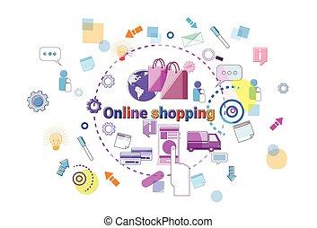 megvásárol, fogalom, bevásárlás, mozgatható, internet, online, kiskereskedelem, transzparens, bolt