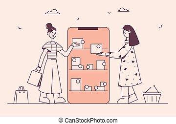 megvásárol, online, internet, fogalom, bevásárlás