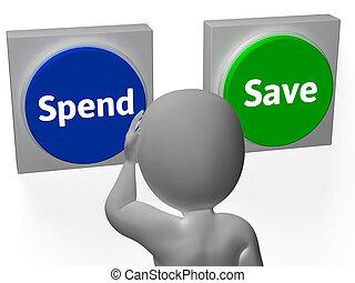 megvesz, megmentés, előadás, költségvetés, költ, gombok, megment, vagy