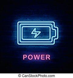 megvilágít, erő, elem, fény, neonreklám, vektor, ikon