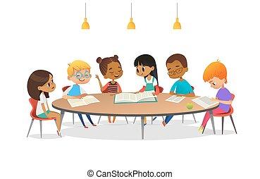 megvitat, előjegyez, beszéd, mindegyik, izbogis, vektor, advertisement., kerek, gyerekek, mindenfelé, ábra, asztal, ülés, más, karikatúra, library., lány, transzparens, értük., poszter, tanulás, fiú, felolvasás
