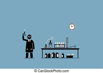 megvizsgál, övé, labor, chemical scientist, eredmény, experiment.
