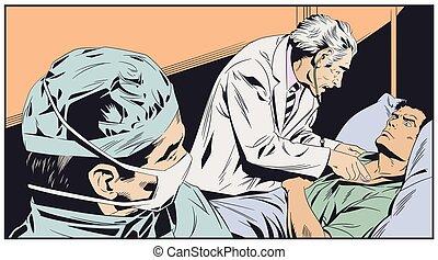 megvizsgál, illustration., orvos, öregedő, man., részvény