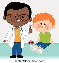 megvizsgál, kevés, gyermekorvos, fiú