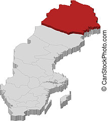megye, térkép, norrbotten, kijelölt, svédország