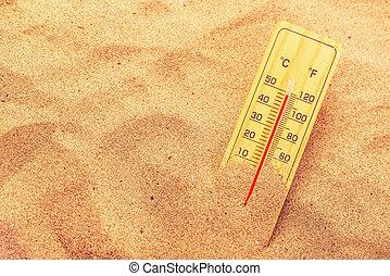 meleg, dezertál, homok, rendkívül, lázmérő