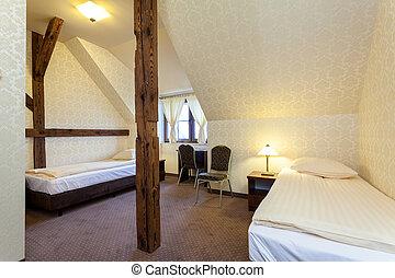meleg, nagy, hálószoba, hotel
