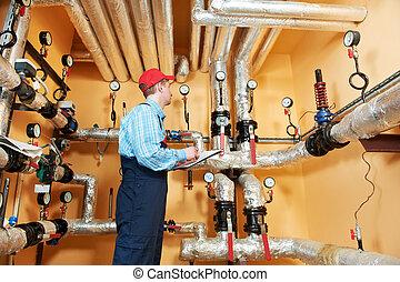 melegvíztároló, konstruál, repairman, szoba, fűtés