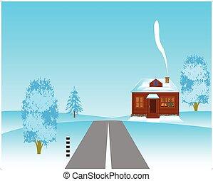 mellett, épület, tél, közútak