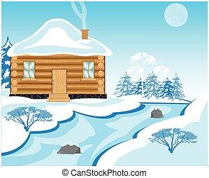 mellett, épület, udvar, tél
