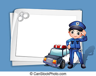 mellett, autó, rendőrség, rendőr