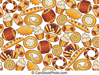 mellette, pékség, háttér, seamless