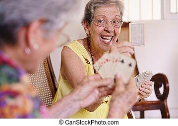 menedékház, kártya játék, öreg, játék, nők, élvez