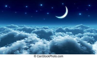 menekülés, felett, elhomályosul, éjszaka
