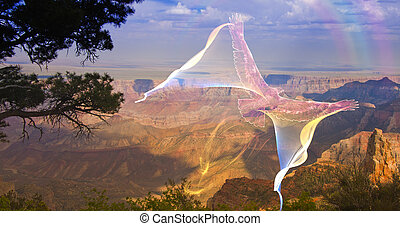 menekülés, ghostlike, kanyon, abroncs, felül, nagy, madár