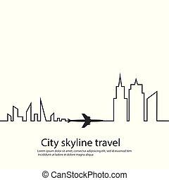 menekülés, illustration., repülőgép, útvonal, utazás, tourism., két, háttér., láthatár, vektor, között, út, fehér, városok, -e, repülőgép, route.