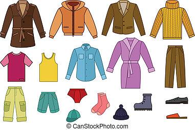 mens, gyűjtés, öltözet