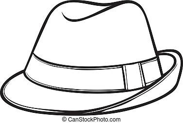 (men's, klasszikus, kalap, puha kalap, fedora)