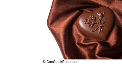 menstruáció, alakú, barna, szív, silk., motívum, bonbon