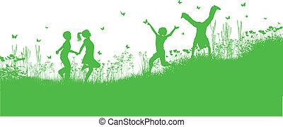 menstruáció, fű, játék, gyerekek