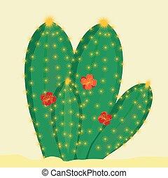 menstruáció, kaktusz, zöld háttér, sárga