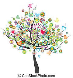 menstruáció, karika, fa, pillangók, alakít, zöld, színezett