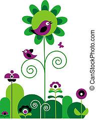 menstruáció, madarak, lepke, kavarog, zöld, bíbor