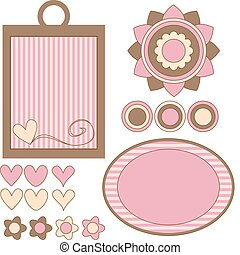 menstruáció, nappal, barna, vektor, rózsaszínű