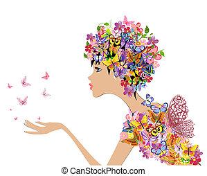 menstruáció, pillangók, mód, leány