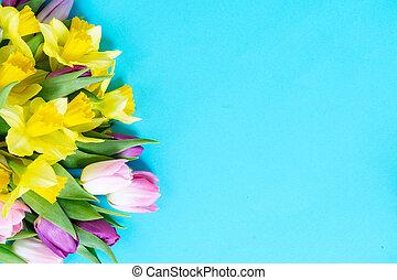 menstruáció, tulipánok, nárciszok