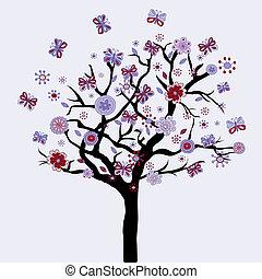 menstruáció, virágos, pillangók, elvont, fa