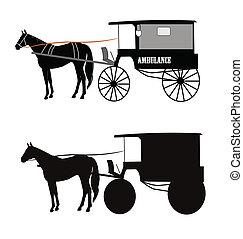 mentőautó, húzott, ló