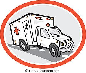 mentőautó, karikatúra, szükségállapot jármű