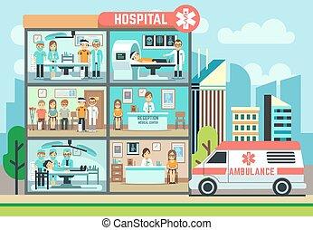 mentőautó, orvosi, healthcare, vektor, kórház, türelmes, épület, lakás, ábra, orvosok, klinika