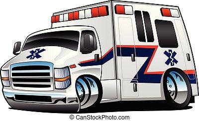mentőautó, vektor, csereüzlet, karikatúra, ábra, rohammentős, elszigetelt, kiszabadítás, fehér