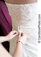 menyasszony, feláll, öltözet