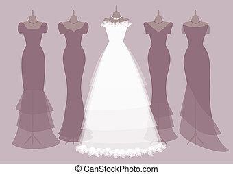menyasszony, koszorúslányok, csapatok