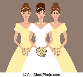 menyasszony, koszorúslányok, sárga