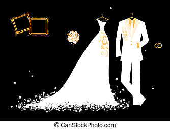 menyasszony, lovász, fehér, tervezés, illeszt, fekete, esküvő öltözködik, -e