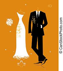 menyasszony, lovász, illeszt, tervezés, esküvő öltözködik, -e