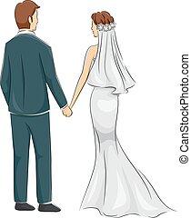 menyasszony, párosít, lovász, fogad kilátás