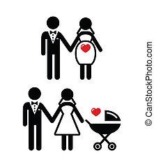 menyasszony, terhes, babakocsi, ikon