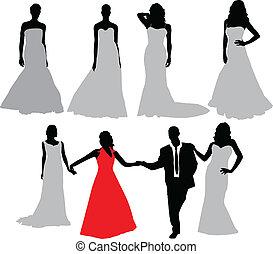 menyasszony, vektor, árnykép, collection.